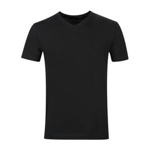 T-SHIRT BLACK V-NECK L 6CT