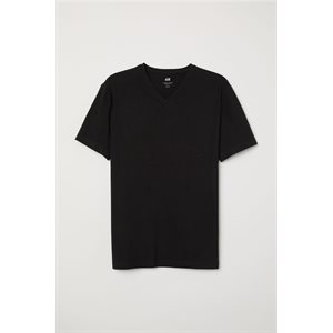 T-SHIRT BLACK V-NECK M 6CT